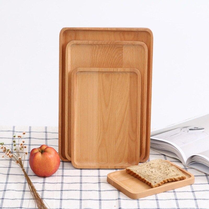 1 шт. Деревянные Подносы сервировочный поднос посуда тарелка деревянные закуски десерт хранение еды Чай Кофе поднос для завтрака отеля дома сервировочный поднос-3