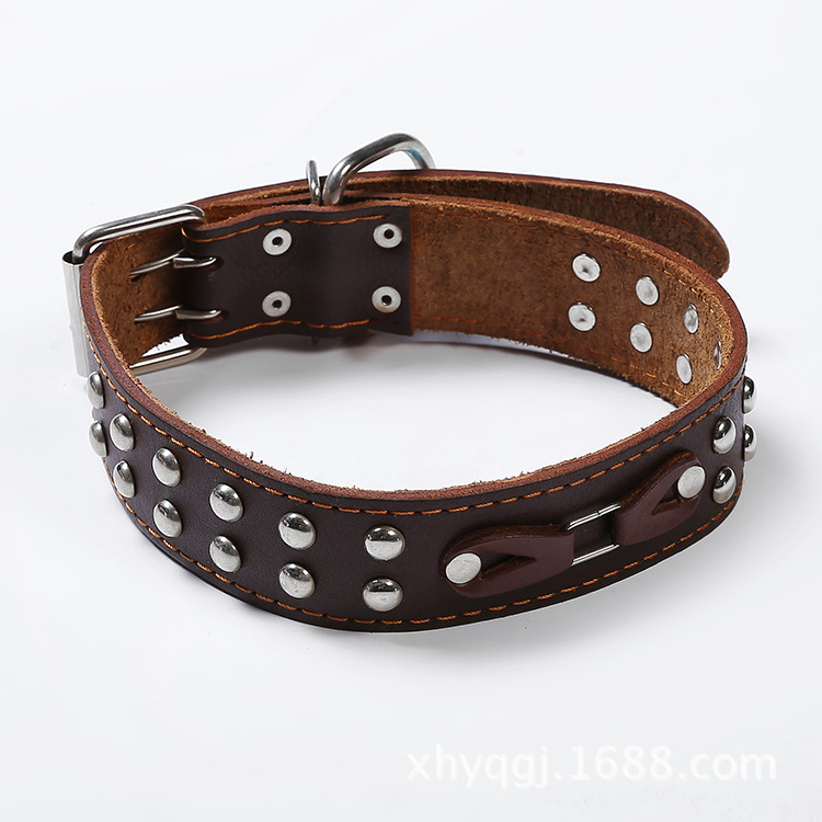 Hand Holding Rope Explosion-Proof DingTalk Rushed Dog Genuine Leather Neck Ring Golden Retriever Husky Dog Chain Collar