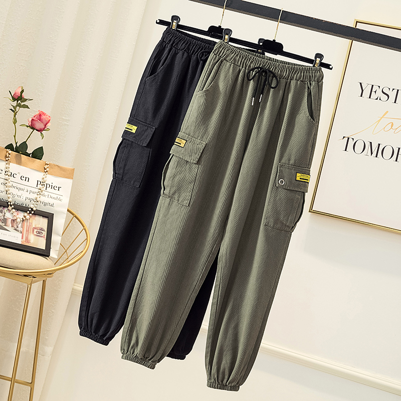 Pants Women  Plus Size  Pocket  Casual Loose Drawstring Pleated Femme Trousers   Army Green Black  Ankle Length Harem Pants 4xl