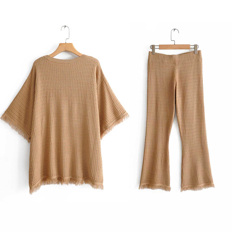 秋のラクダカラーニットセーターの女性は za スタイル o ネックハーフスリーブタッセルラフエッジスタイリッシュなトップスファム