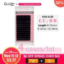 Qeelasee cílios postiços curvados, 4 bandejas cc/dd maquiagem individual de vison, cílios para extensão de cíliosCílios postiços