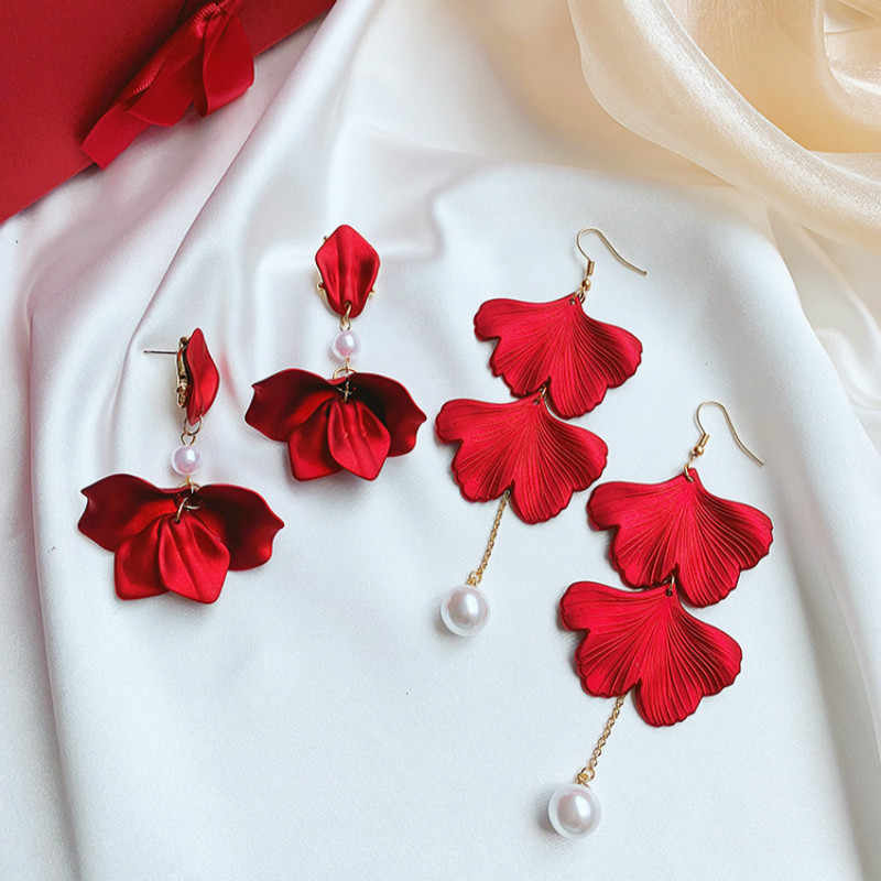 Acrylic Trendy Plant Women Dangle Earring Big Red Rose Petals Ginkgo Leaf Earrings Bohemian Fashion Earrings For Women Statement