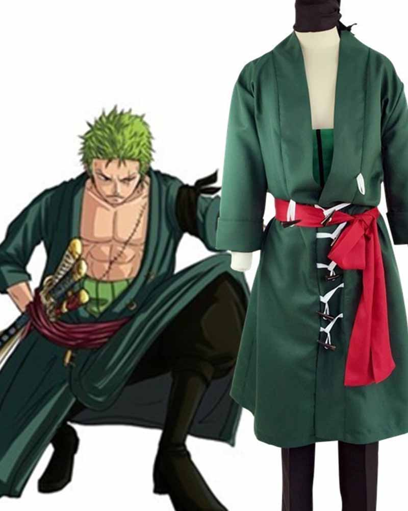 Anime One Piece Roronoa Zoro II Costume Cosplay Full Set Coat + Pants + Belt + Girdle + Hood Halloween Gift Carnival Party Xmas