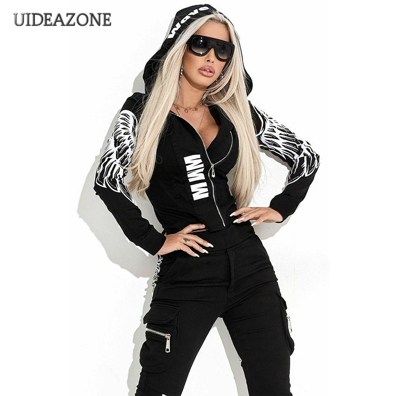 Letter Wing Print Women Two Piece Set Zipper Hooded Top Elastic Waist Pants Ladies 2Pcs Sets 2 Pieces Sports Suits 2019 Autumn