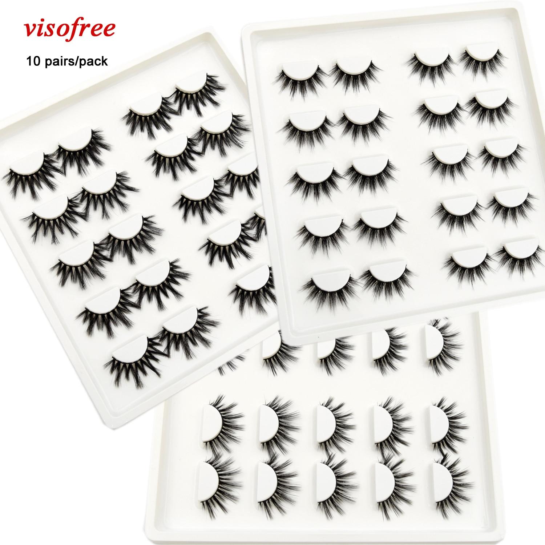 10 Pairs Lashes Visofre Natural 3D False Eyelashes Fake Lashes Makeup Faux Mink Lashes Extension Thick Long Eyelashes Maquiagem