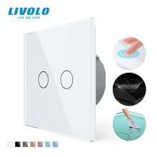 Livolo EU Standard 2 Gang 1 Weg Wand Touch Licht Schalter, Wand power sensor schalter, 7 farben Kristall Glas-Panel, mit led-hintergrundbeleuchtung
