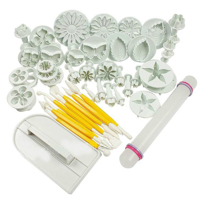 46Pcs Fondant Cake Mold Set Flower Cake Decorating Tools Kitchen Baking Molding Kit Sugar Craft Making Mould for Cookie|Waffle Molds| |  - title=