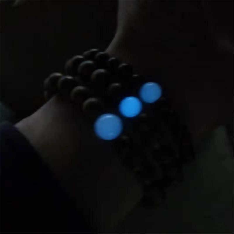 כחול זוהר זוהר בחושך אבן צמיד גברים טבעי אלגום עץ בודהיסטי בודהה מחרוזת צמידי נשים תכשיטים