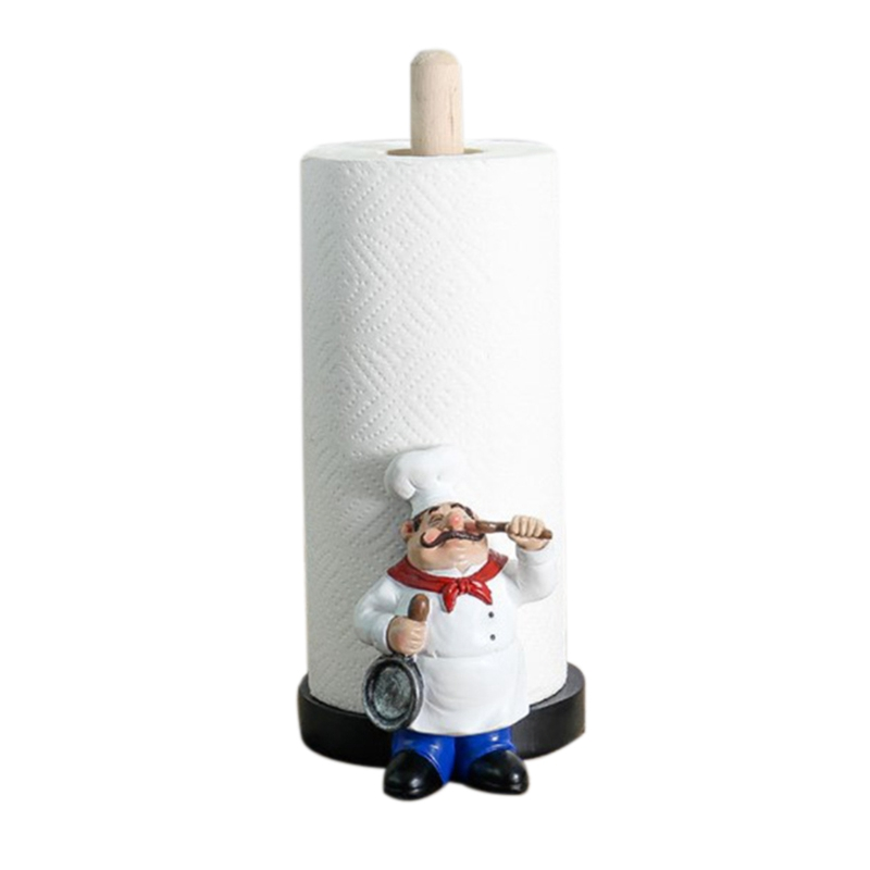 Resin Chef Double-Layer Paper Towel Holder Figurines Creative Home Cake Shop Restaurant Crafts Decoration Ornament