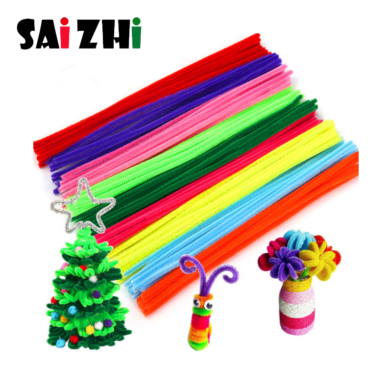 SAIZHI 100PCS Colored Tops Hair Root Twisted Rods Kindergarten Children's Creative Handmade DIY Making Educational Toys SZ3636
