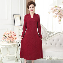 795/796 middle-aged and elderly women's autumn two-piece long-sleeved wine red dress plus size fat mother outfit 35-50 years old