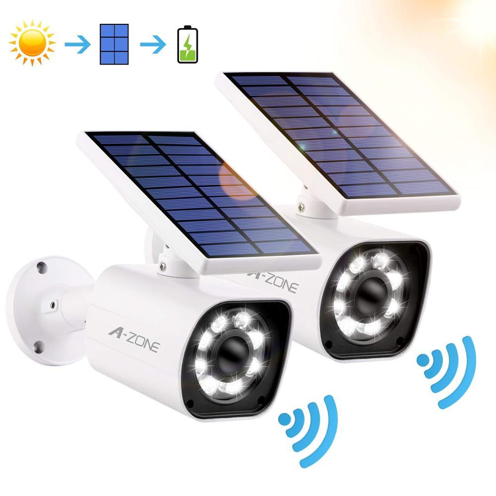 A-ZONE Solar Power LED Light Outdoor Simulation Security Camera PIR Motion Sensor Wireless Waterproof Fake Surveillance Camera