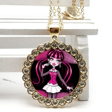 2020 New Fashion Cartoon Beautiful Girl Crystal Pendant Glass Convex Round Necklace Men and Women Birthday Gift