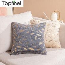 Topfinel flanela fronhas quente preto coxim cobre pena dourada almofadas macias para decoração de casa sofá cadeira cama cor sólida
