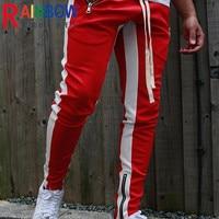 Rainbowtouches-Pantalones altos de calle deportivos para hombre, ropa de ocio, correr, deportes al aire libre, con cremallera de pie, pantalones de Color a juego, nuevo estilo