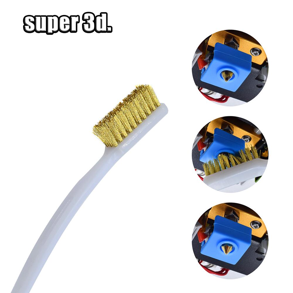 3D Printer Tool Copper Wire Toothbrush Nozzle Brush For Cleaning Nozzle /Heating Block  /Hotend Hot Bed Cleaner Derusting Parts