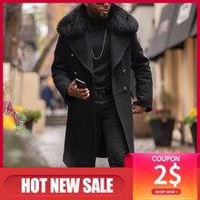 Зимнее мужское меховое длинное шерстяное пальто с прямым отворотом и карманами на пуговицах однотонная черная модная офисная Повседневная...