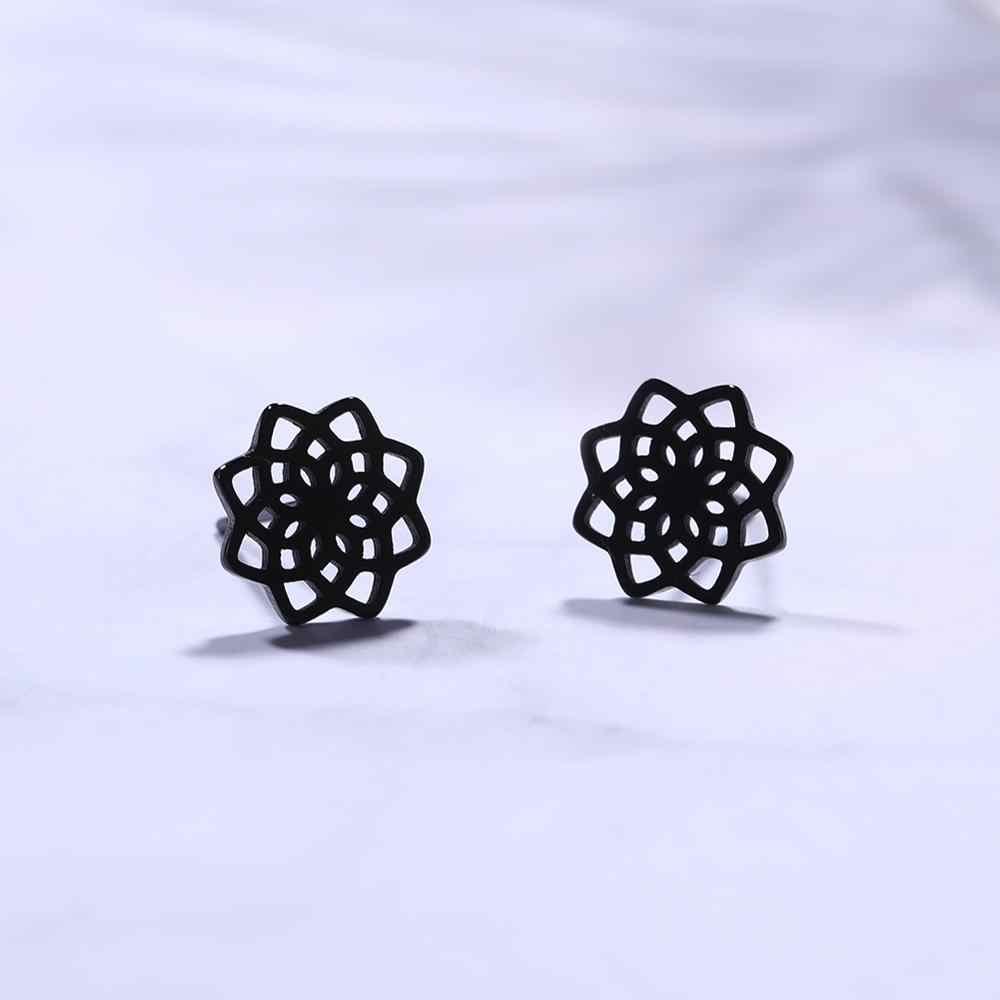 My Shape Studต่างหูดอกไม้ชีวิตเซลติกส์Knot Vikingสแตนเลสสีดำทองสีขนาดเล็กต่างหูผู้หญิงน่ารักของขวัญ