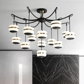 Modern Creative Nordic LED Chandelier With Glass Ball For Living Room Bedroom Wooden Chandeliers Indoor Lighting Fixtures