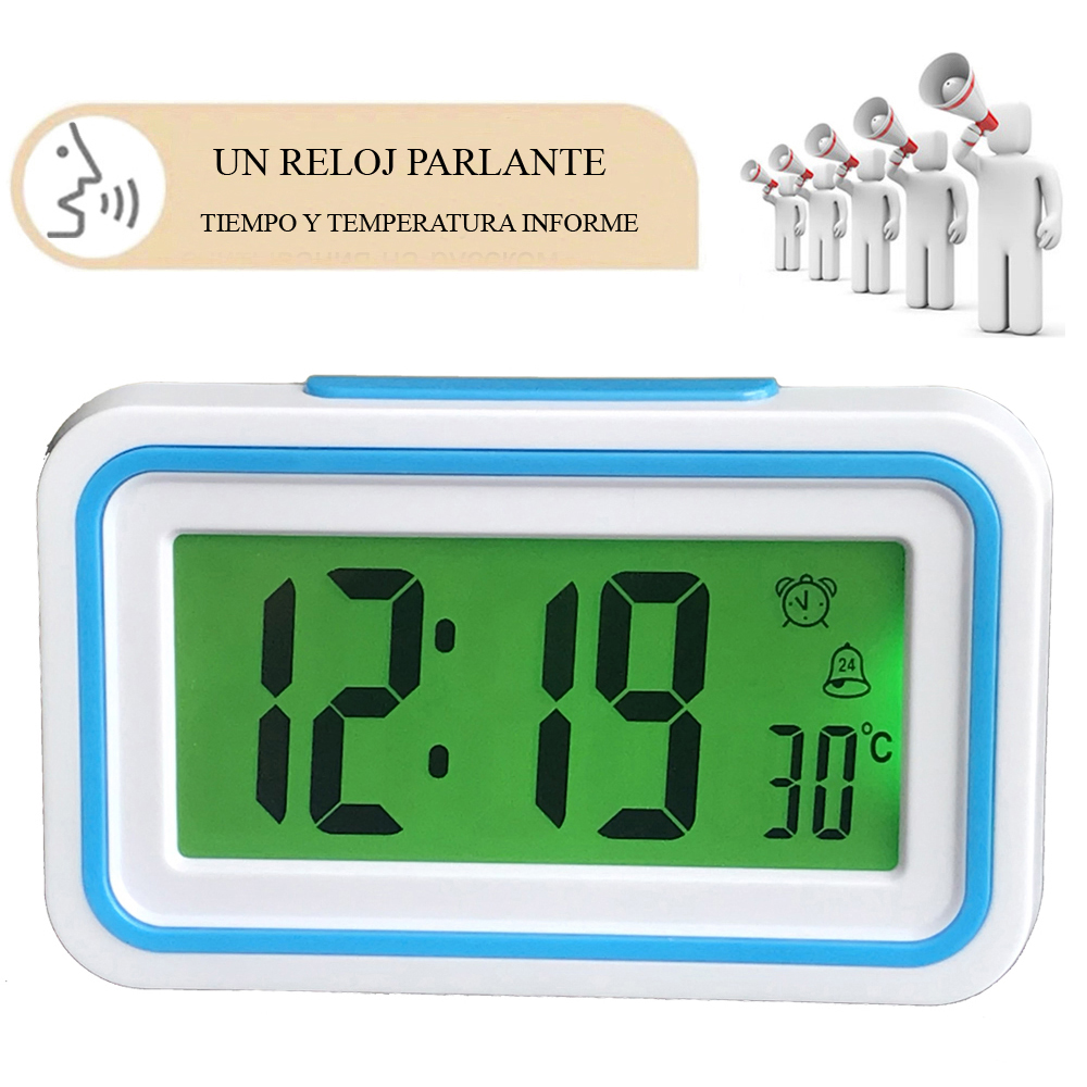Spanish Talking Clock Speaking Time and Temperature Home Thermometer Digital Desk Table Snooze Alarm Clock Kid Children Wake Up
