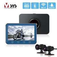 SYS VSYS Dual 1080P SONY IMX307 WiFi Motorcycle Dash Cam DVR 4.5'' LCD Full Body Waterproof Front & Rear View Camera Recorder