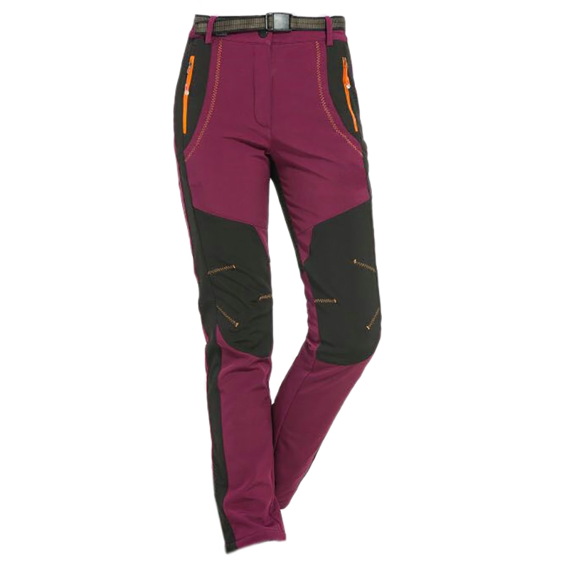 Winter Women Hiking Pants Outdoor Softshell Trousers Waterproof Windproof For Camping Ski Climbing Maroon