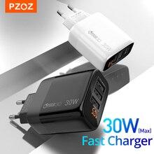 PZOZ USB מטען 30W מהיר טעינה 18W מהיר תשלום 3.0 LED תצוגת האיחוד האירופי וול מתאם עבור iphone 11 סמסונג A50 xiaomi redmi note8