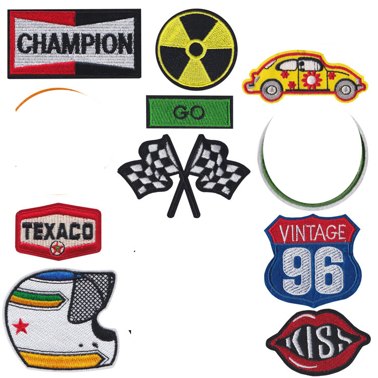 Punk Style <font><b>Car</b></font> <font><b>Race</b></font> Helmet Locomotive Badge <font><b>Patch</b></font> Embroidered Iron <font><b>Patches</b></font> for Clothing DIY Kids Clothes Stickers Badges image