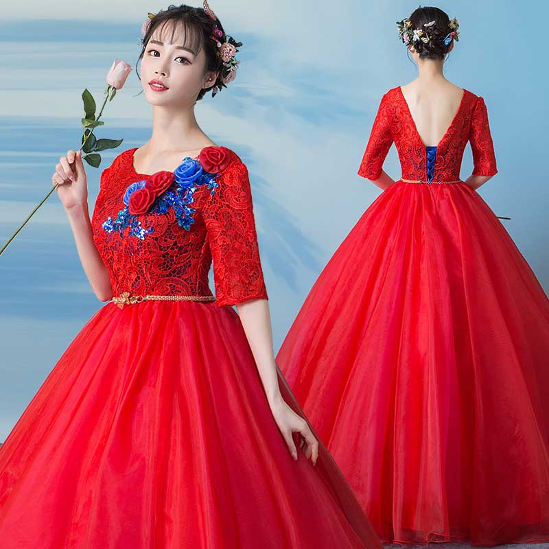 Dentelle Quinceanera robes O cou doux 16 robe de bal robes de bal Floral appliqué demi manches fête robes de bal Quinceanera Elbise