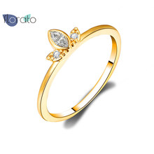 INS Simple Triple Diamond Female Gold White Zircon Ring S925 Sterling Silver Rings For Women Fashion Jewelry Bague Femme A40