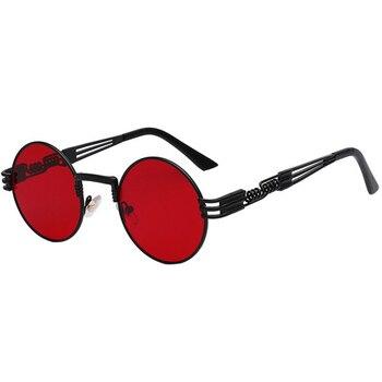 Gotyckie okulary przeciwsłoneczne w stylu steampunk mężczyźni kobiety w stylu vintage metalowe okrągłe okulary przeciwsłoneczne marka projektant mody gogle lustro wysokiej jakości UV400