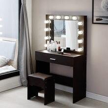 Conjunto de vaidade com espelho iluminado amortecido fezes penteadeira mesa de maquiagem nogueira cor particuleboard penteadeira