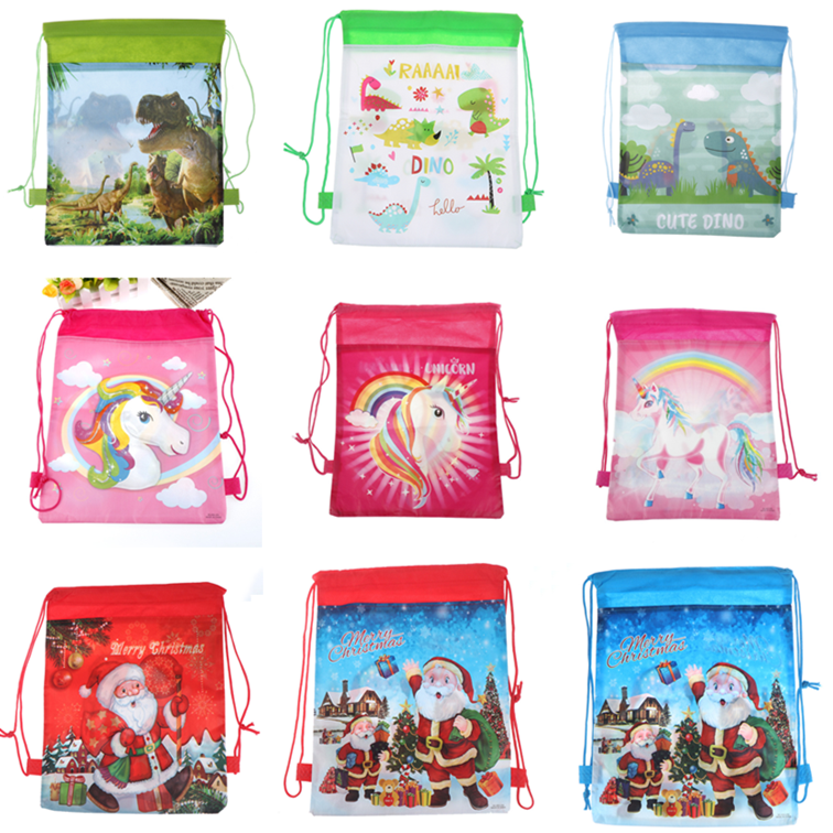 1pc Drawstring Bag Christmas/Dinosaur/Unicorn Drawstring Bags Kids Cartoon Bags Candy Storage Party Packing