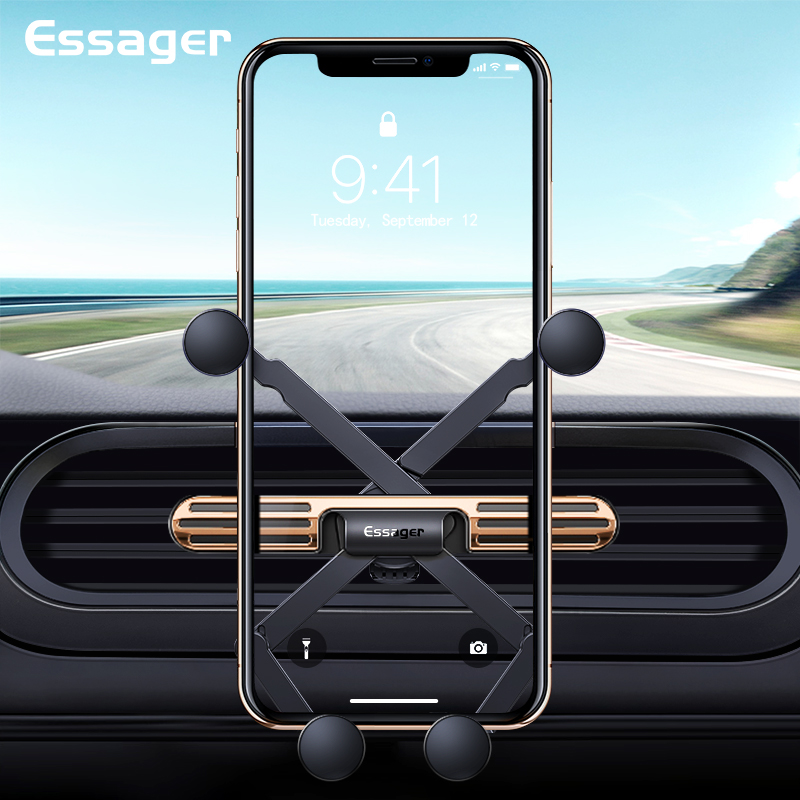 Essager Mini Gravity Car Phone Holder For IPhone Samsung Universal Air Vent Mount Car Holder Clip Cell Mobile Phone Holder Stand