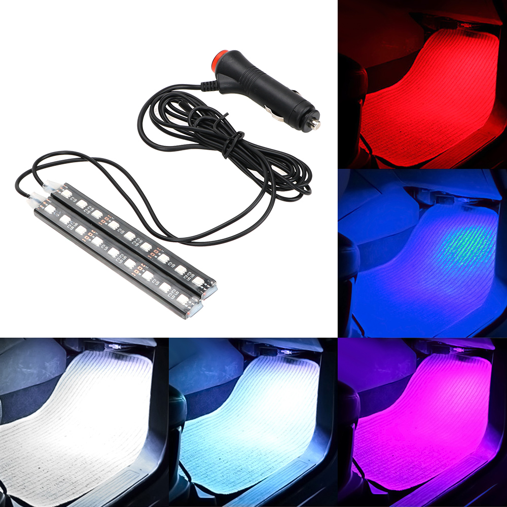 LEEPEE 2pcs Car LED Dash Floor Foot Strip Light Cigarette Lighter Adapter Auto Atmosphere Lamps Interior Decorative Lamp
