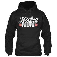 Хоккейная Мама с длинным рукавом толстовка капюшоном gildan