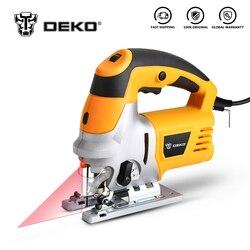O gabarito do laser de deko viu, velocidade variável inclui 6 lâminas dos pces, régua do metal, tubulação da poeira, ferramentas elétricas da serra da chave de allen