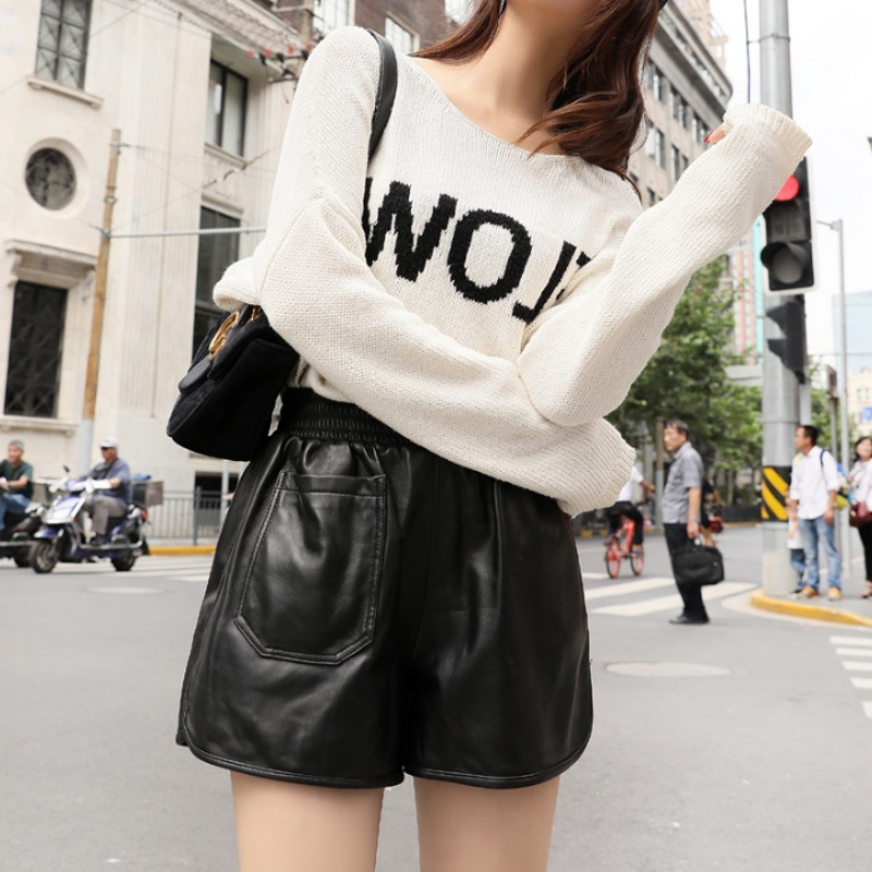 Brand New Womens Genuine Leather Shorts Fashion High Waist Loose Wide Leg Short Pants Elastic Waist Sheepskin Casual Hot Pants
