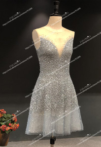 Image 4 - Rhine real Pictures Sexy grey blue luxurious V neck and v back Knee Length Party Dresses Prom dresses 2020