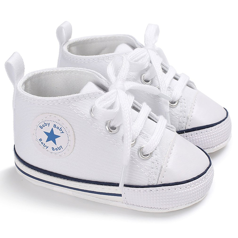 Classic Sports Newborn Infant Baby Boys Girls Solid Canvas First Walkers Shoes Soft Sole Anti-slip Baby Shoes Walking Shoes