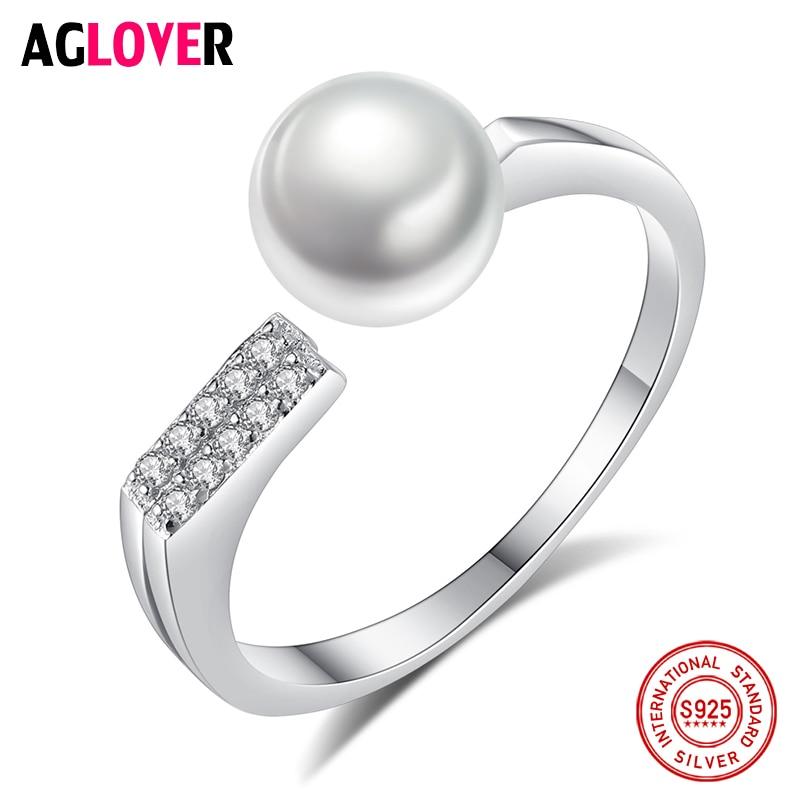AGLOVER очаровательное кольцо из серебра 925 пробы с диском, изменяемое Размер 7,5 мм, кольцо с натуральным пресноводным жемчугом, ювелирное издел...