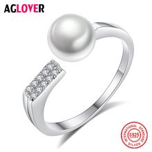 AGLOVER Charm 925 Silver Disc Ring Resizable 7.5MM Natural Freshwater Pearls Ring Jewelry Women Wedding Lady Gift High Guality