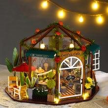 Сад кафе diy кукольный домик цветы sylvanian families дом Светодиодная