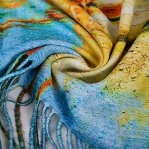 Image 3 - [BYSIFA] כחול חורף צעיפי צעיפי אופנה Utralong קשמיר פשמינה מודפס 200*70cm גבירותיי צוואר צעיף חיג אב echarpes chales