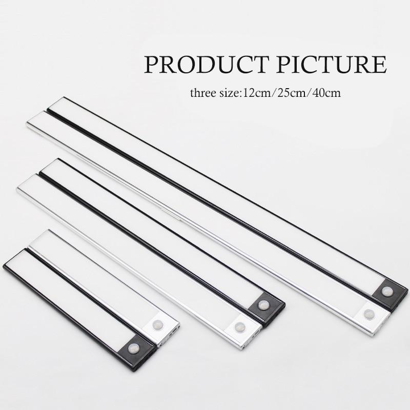 Ultra-thin PIR Motion Sensor LED Under Cabinet Light USB Rechargeable Uniform Lighting Wardrobe Cupboard Closet night light 2