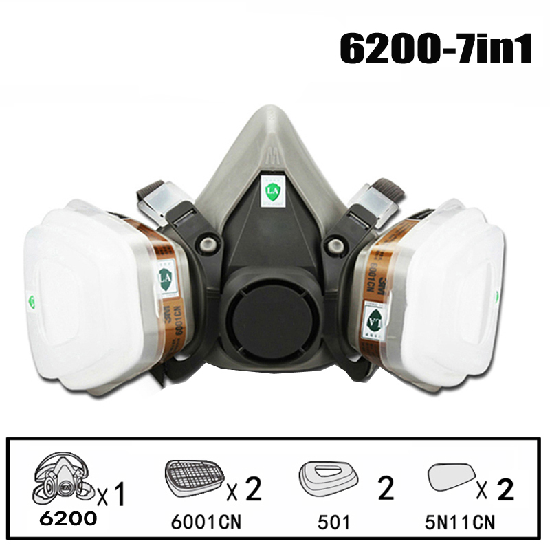 1Set Full Face Respirator Dust Gas Mask For Painting Spray Pesticide Chemical Smoke Fire Protection Half Face PM005