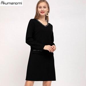 Image 2 - ชุดสตรีฤดูใบไม้ร่วง 2019 Plus ขนาด 5XL เพชร V คอเต็มรูปแบบสำนักงานจัดส่งฟรี Vestidos De Verano Robe femme