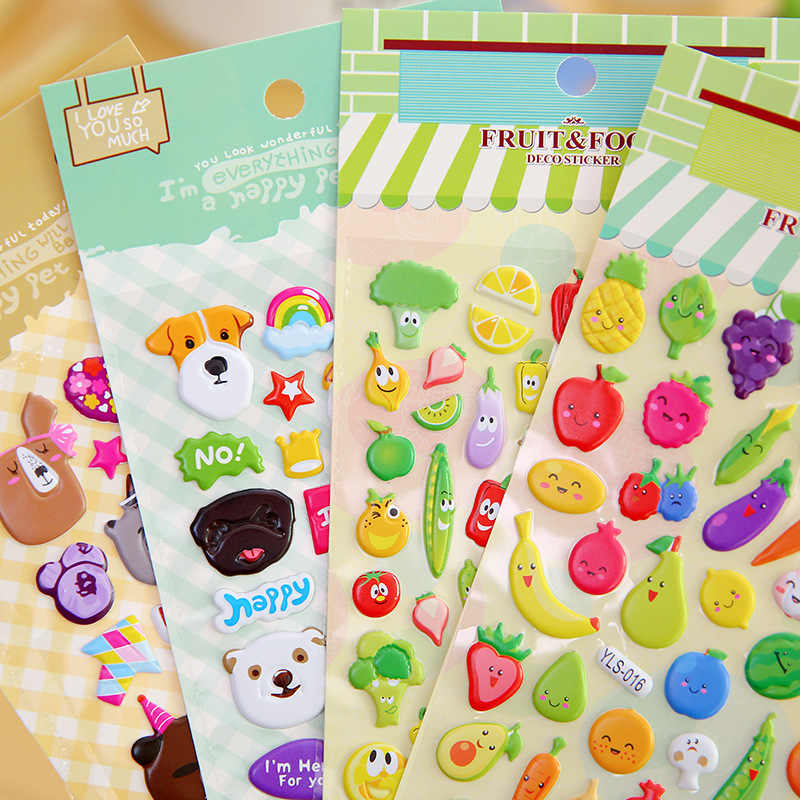Girls Sticker Diary Dog Letter Puffy Stickers Pack Education Toys Number Scrapbook Funny Waterproof Sticker Kids toy