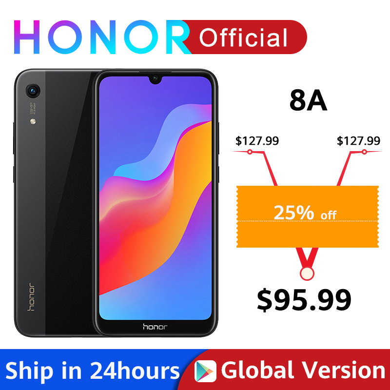 Global Version Honor 8A Smartphone 6.09'' MTK6765 Octa Core Android 9.0 3020mAh Face Unlock 1560x720 3 Card Slots Google Play