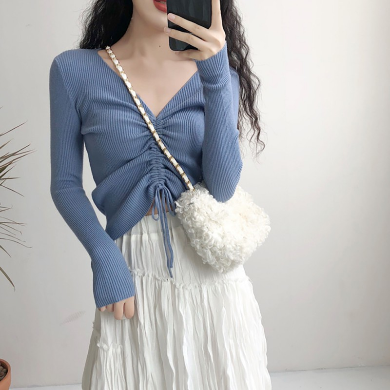Ladies Knitted Sweater Woman Women Slim Fit Fashion Casual V-neck Solid Winter Drawstring Long Sleeve Sweat Sweaters!